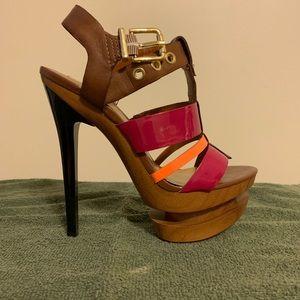 Jessica Simpson wooden platform sandals